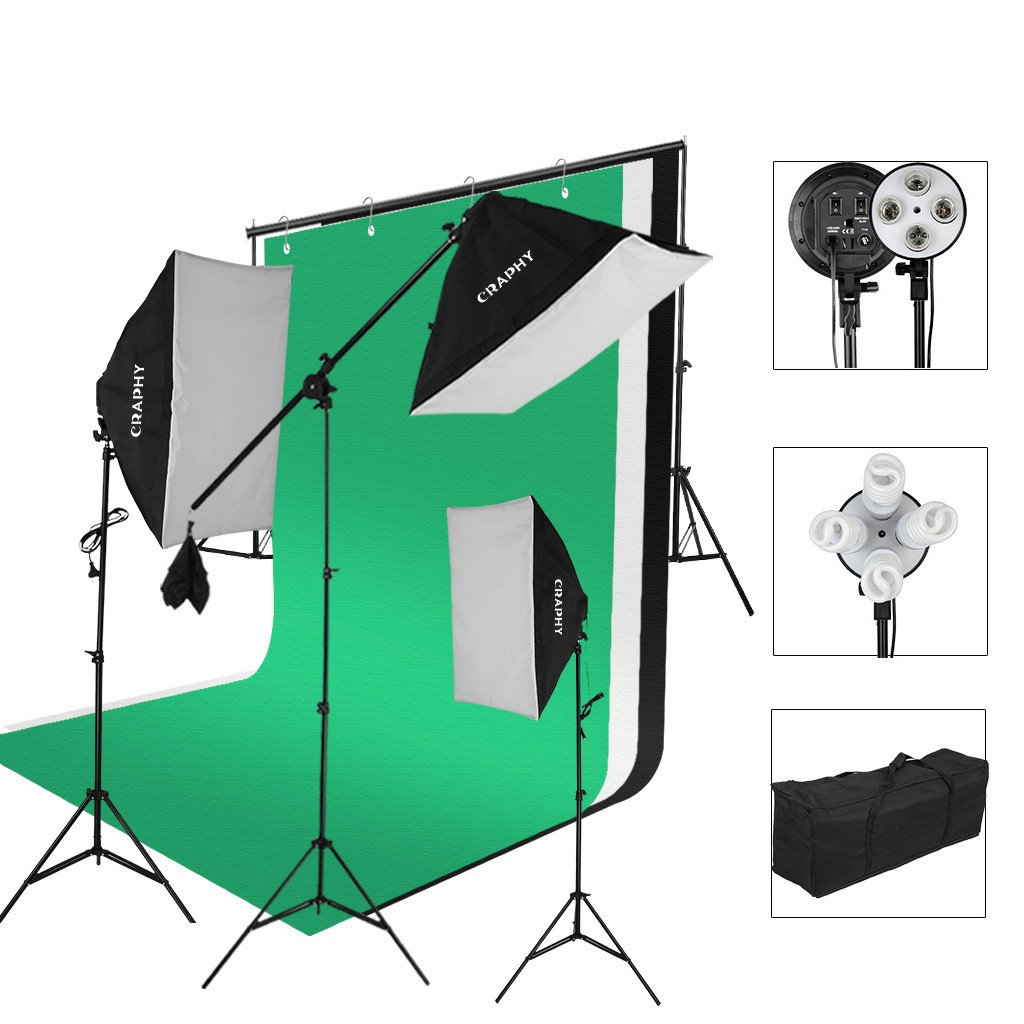 CRAPHY Photography Studio Lights Continuous Soft Box Lighting Kit 45W 5500k Daylight Soft Box (20x26'') + Background Support Stand (10x6.5FT) + 3 Backdrops (9x6FT, White Back Green) + Carrying Bag by CRAPHY