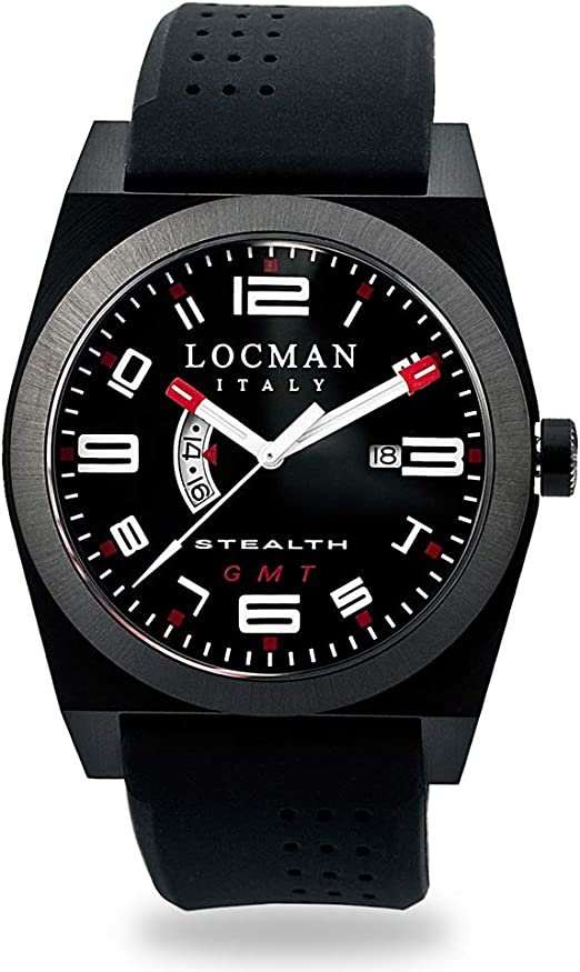 Locman italy orologio da uomo stealth titanium/acciaio inox gmt nero rif. 0200 0200BKBKFRD1GOK
