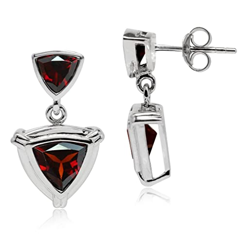 3.68ct. Trillion Shape Natural Garnet White Gold Plated 925 Sterling Silver Dangle Post Earrings