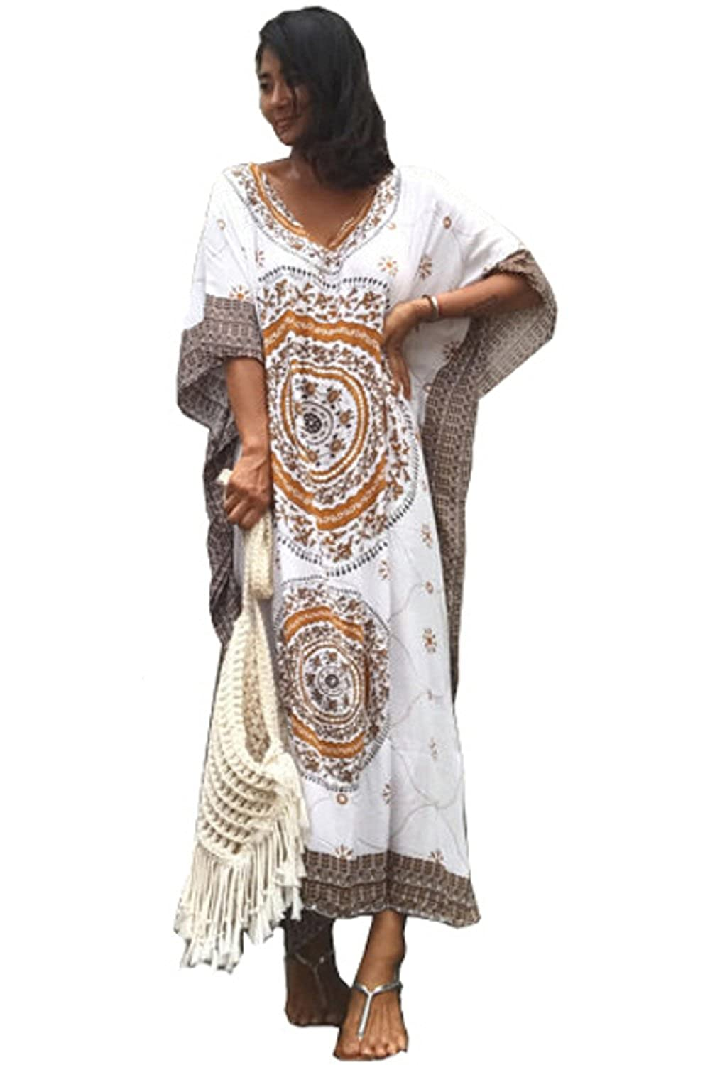 Ho Mall Bohême Mesdames Summer Elegant Beach Poncho Impression Ethnique lâche Caftan Smock Summer Maxi Dress Taille Unique)
