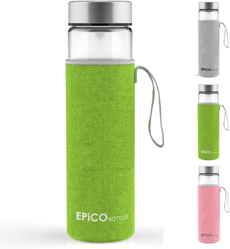Epico Bottles - Botella de agua, cristal, con funda de neopreno ...