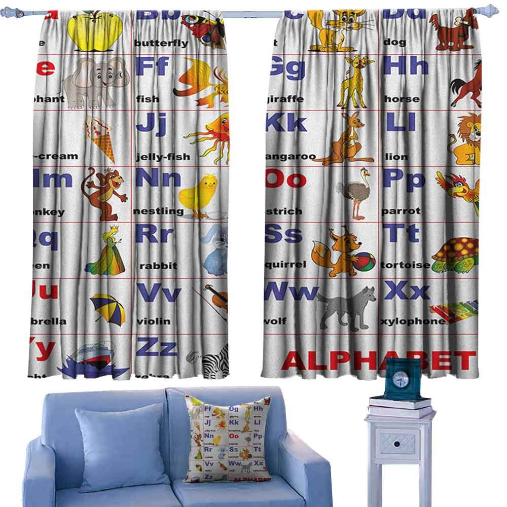ParadiseDecor Educational Lovely Drapes Animals Placed on Letter of The Alphabet Teachers Chart Classroom Kindergarten,Curtains for Living Room Bedroom Kitchen,W72 x L84 Inch by ParadiseDecor