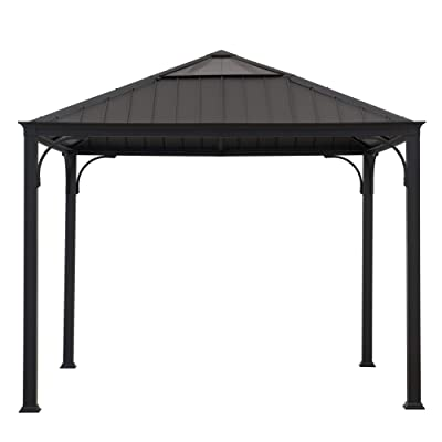 Sunjoy A102006700 Stuart 10x10 ft. Gazebo with Steel and Polycarbonate Hip Roof Hardtop, Black : Garden & Outdoor