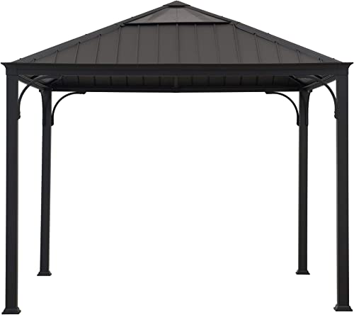 Sunjoy A102006700 Stuart 10×10 ft. Gazebo with Steel and Polycarbonate Hip Roof Hardtop, Black