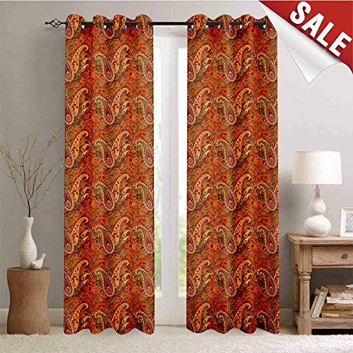 Orange Outdoor Gromets Curtain for Patio Living Room Drapes, Traditional Old Fashioned Paisley Pattern Floral Design with Leaves Pattern Darkening Curtains, Orange Olive Green Redwood, W120 x L108 I