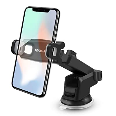 TENACHI Car Cell Phone Mount Holder Long Arm Strong Suction Compatible with iPhone 11 Pro XS Max XR X 8 8P 7 7P 6S 6P 6 Samsung Galaxy S10 S9 S8+ S7 S6 Nexus LG Sony