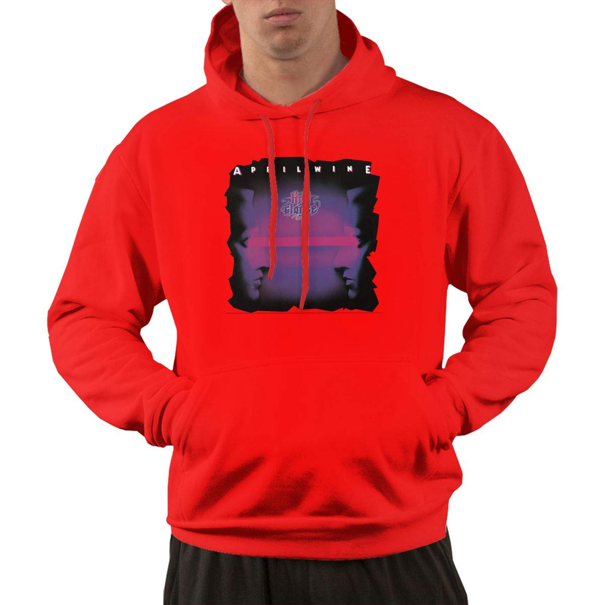 S Pullover Comfortable Red Print April Wine Band Hooded Shirts With Pocket 3