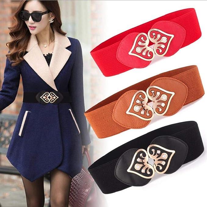 Nueva moda de aleacion de vintage Accesorios cinturon de cuero estiramiento ancho cinturones Adecuado para jeans Falda