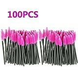 Makeup Brush , Sandistore 100pcs/lot make up brush Pink synthetic fiber One-Off Disposable Eyelash Brush Mascara Applicator Wand Brush