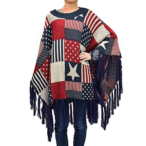 Patriotic American Flag Elements Poncho
