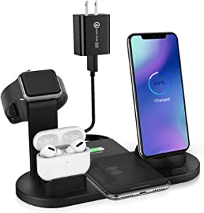 6 in 1 Wireless Charger, Wireless Charging Stand for Apple Watch Series 6/SE/5/4/3/2/1,Qi Wireless Charging Station for iPhone 12/11/Pro/Max/XS/Max/XR/XS/X, for Airpods Pro/3/2/1 Black