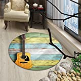 Music print rug Acoustic Guitar on Colorful Painted Aged Wooden Planks Rustic Country Design PrintOriental Floor and Carpets Multicolor