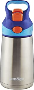 Contigo Autospout Straw Striker Chill Stainless Steel Kids Water Bottle, 10 Oz, Sapphire