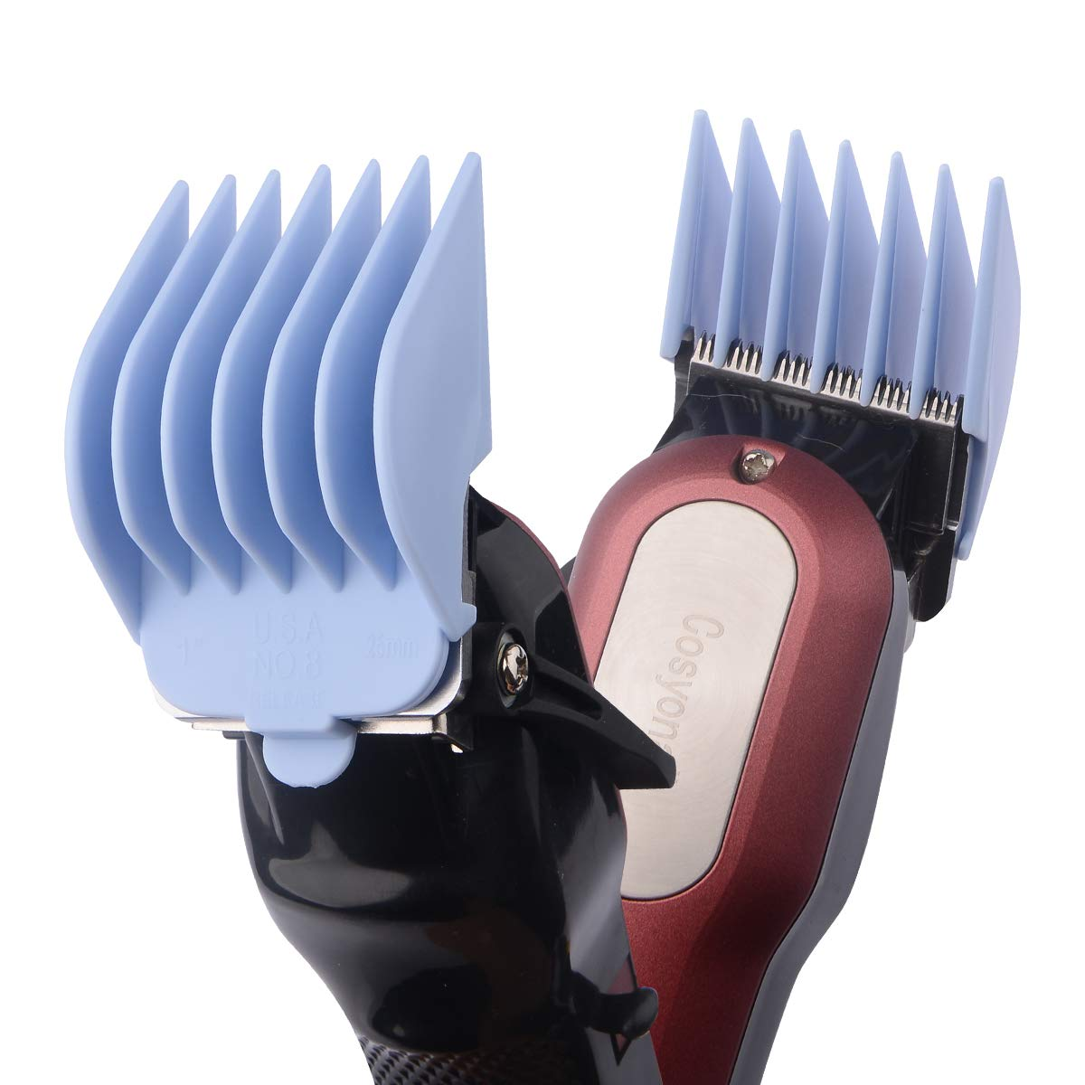 """BESTBOMG Professional 8 Color Coded Cutting Guides #3170-400- 1/8"""" to 1 -Great Fits for Professional All Full Size Wahl Clippers"""
