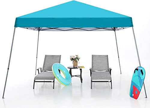 MASTERCANOPY Slant Leg Pop Canopy Tent 12 x12 Instant Outdoor Canopy Easy Set up Folding Shelter Turquoise
