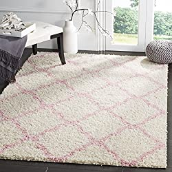 "Safavieh Dallas Shag Collection SGD257P Ivory and Light Pink Area Rug (5'1"" x 7'6"")"
