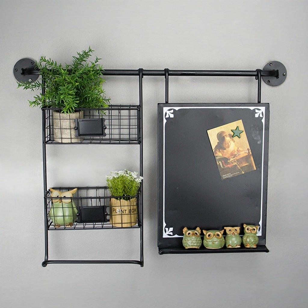 Retro Simple Fashion Industrial Creative Blackboard Shelf Wall Mount Decoration Wall Flower Wall Decoration Message Board