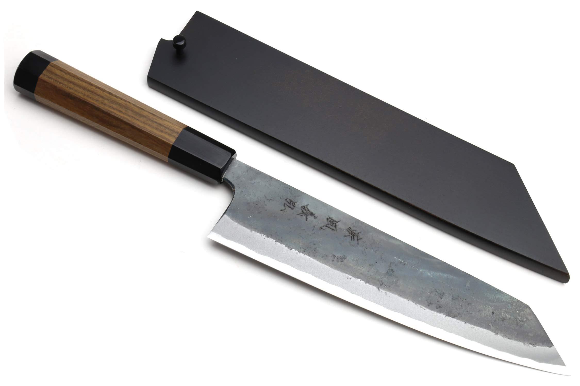Yoshihiro Mizu Yaki Blue High Carbon Steel #1 Black Forged Kiritsuke Japanese Multipurpose Knife Shitan Rosewood Handle (9.5 In) with Nuri Saya Cover
