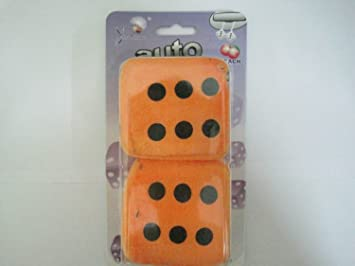 Orange With Black Dot Fragrance Cube Fuzzy Dice Hanging Air