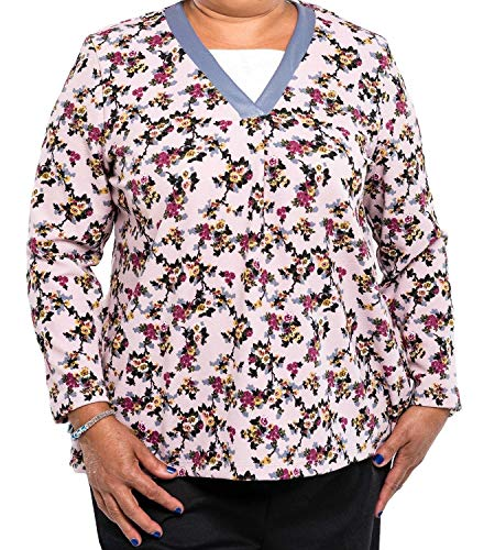 Benefit Wear Womens Adaptive Shoulder-Wrap Top (S, Pink Floral)