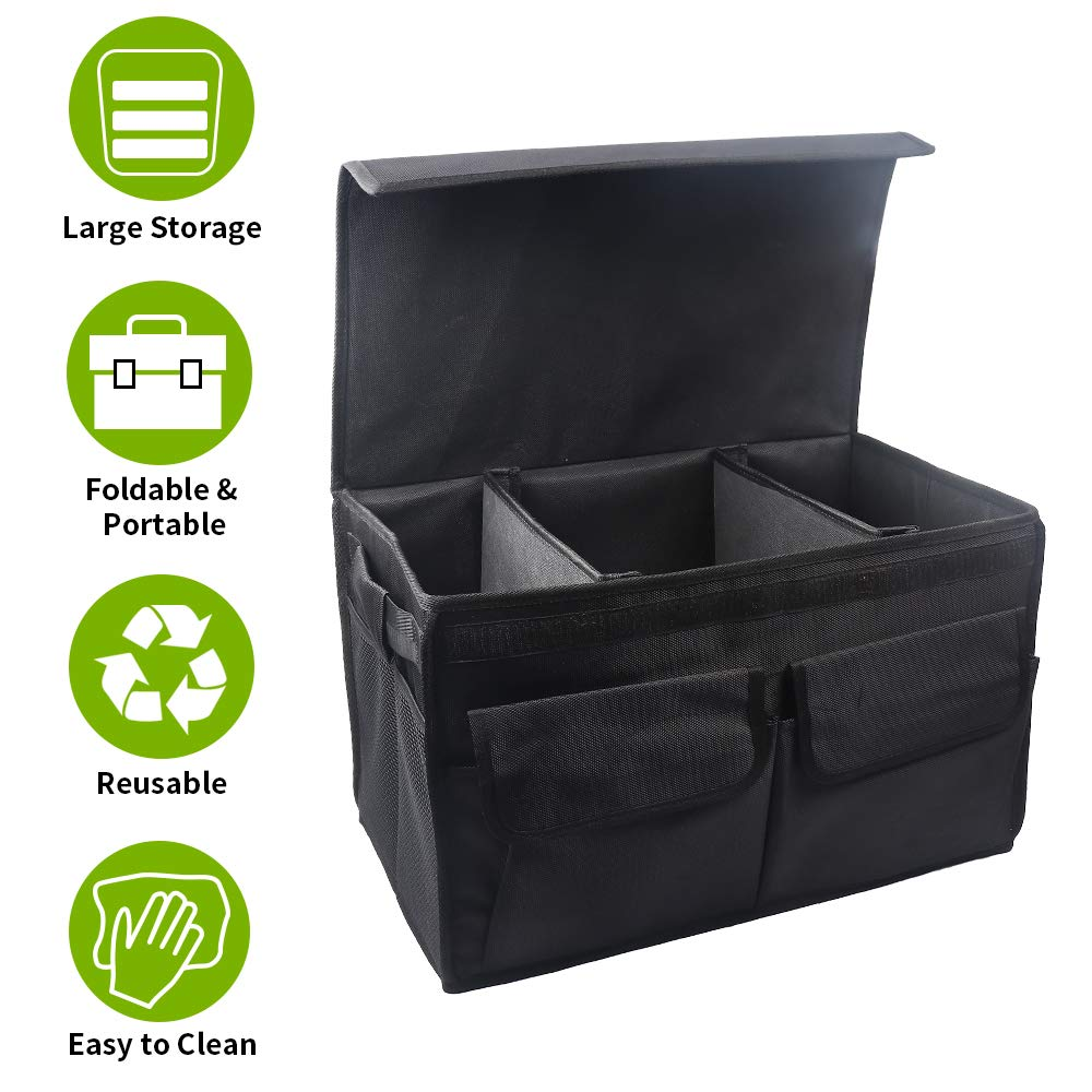 Collapsible Cargo Storage Containers Foldable Vehicle Large Box Tote Compartment Adjustable Heavy Duty for Grocery,Tools or Boots Vech Car Trunk Organizer for SUV Truck Van