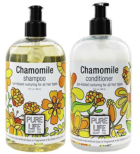 Pure Life Soap Co. Chamomile Shampoo and Conditioner Bundle With Vitamin C, Vitamin E and Aloe Leaf Gel, 15 fl oz Each