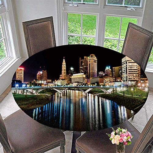 PINAFORE HOME Picnic Circle Table Cloths Columbus Ohio Night Skyline from The The Main Street Bridge for Family Dinners or Gatherings 40