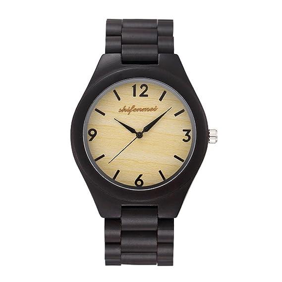 Relojes Unisexo,❤LMMVP❤ Hombres mujer movimiento de cuarzo reloj de madera banda de