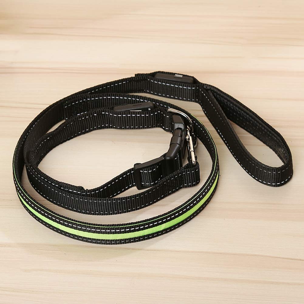 Green Restraint Puppy Safety Adjustable Seat Belt with Elastic Bungee and Reflective Stripe Connect with Dog Car Harness Traction Rope 47 1 , Collar 17 1