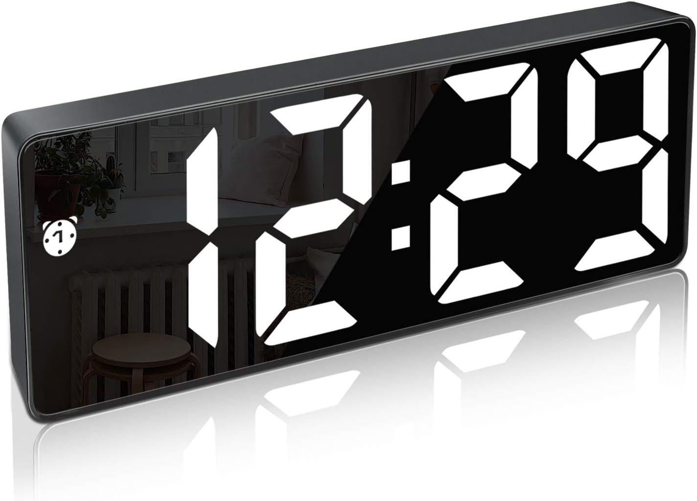 Reloj Despertador Digital,Pantalla LED de Números Grandes con Función de Repetición Brillo Cargador USB Despertador para Dormitorio Sala de Estar Oficina