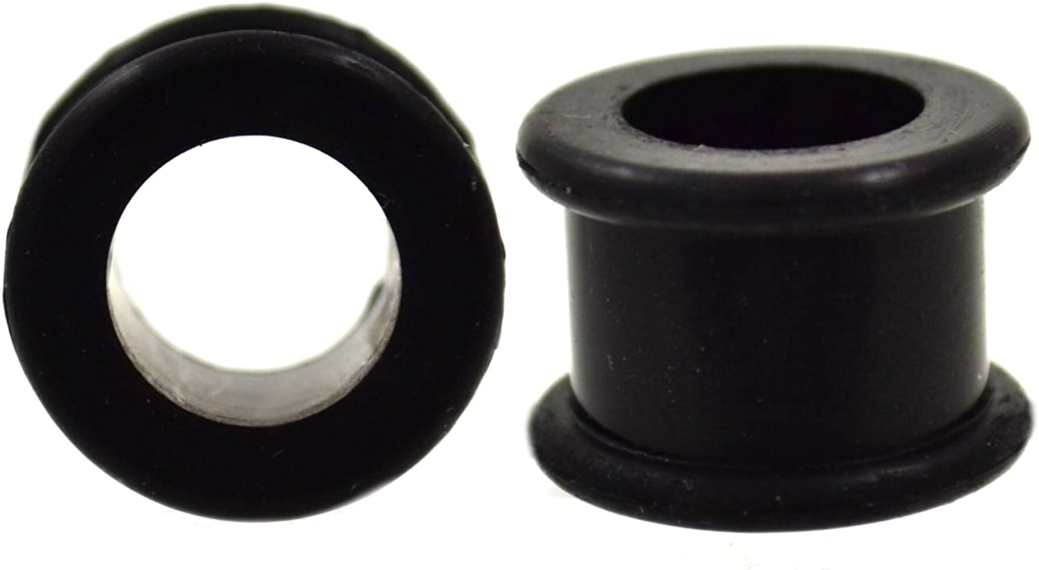 Pair of Double Flared Black Ear Tunnels Plugs Made w/Flexible Silicone