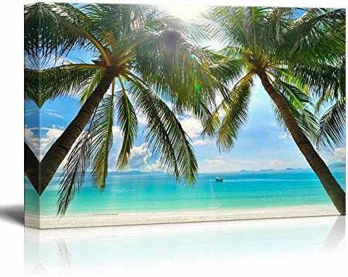 Beautiful Scenery Landscape Sunny Beach with Palm Trees on a Tropical Island Wall Decor
