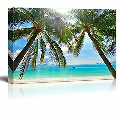 Astonishing Composition, Made With Love, Beautiful Scenery Landscape Sunny Beach with Palm Trees on a Tropical Island Wall Decor