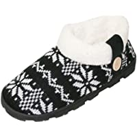 Happy Bull House Slippers for Women Knitted Fleeced Plush Indoor Outdoor Booties Shoes (SLL)