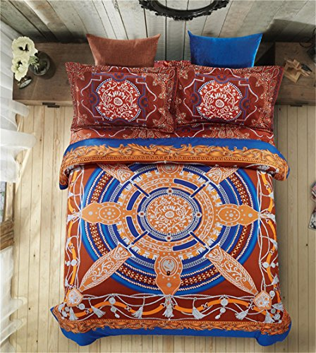 Sienna Comforter Set (4 Pieces Microfiber Lightweight Duvet Cover Sets Queen Size Bohemian Exotic Pattern Print,Reversible Soft and Luxury Bedding Sets,Sienna)