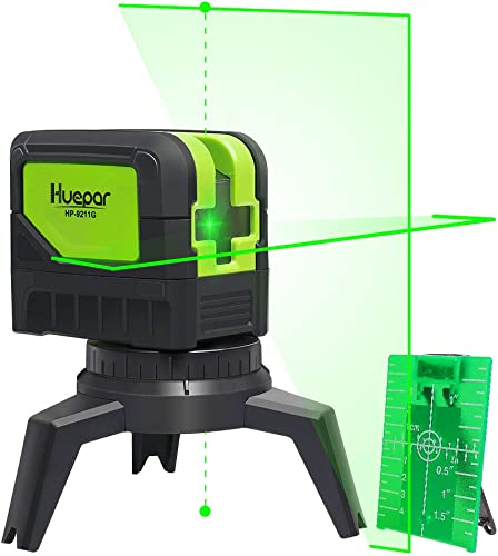 Cross Line Laser Level with 2 Plumb Dots – Huepar 9211G Green Beam Self Leveling 180-Degree Vertical Line and Horizontal Line with Plumb Dots, Multi-Use Self-Leveling Alignment Laser Level