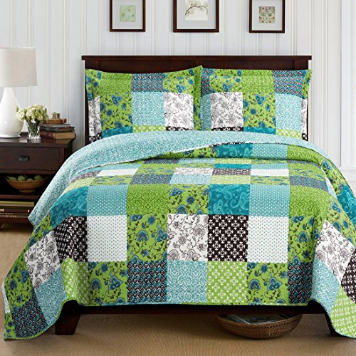 Rebekah King/California King Size, Over-Sized Quilt 3pc set, Luxury Microfiber Printed Coverlet by sheetsnthings