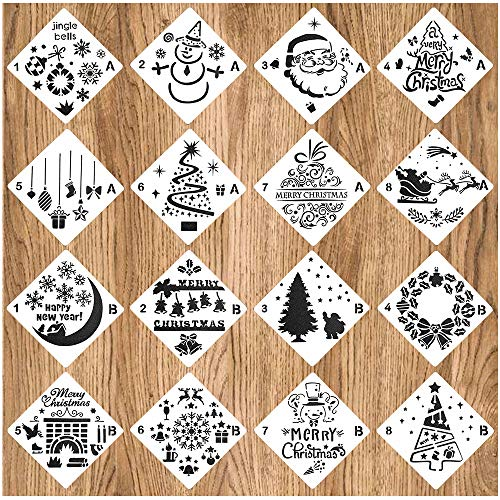 (Christmas Stencils Template Xmas Journal Stencil with Snowflakes Reindeers Snowman Christmas Tree Santa Claus Jingling Bell DIY Card Wood Wall Drawing Painting Art Craft Projects Decorations 16)