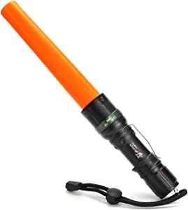UltraFire 11-Inch Signal Traffic Wand LED Flashlight with Strobe Mode, Wrist Strap Lanyard, 250 Lumens, Orange Finish