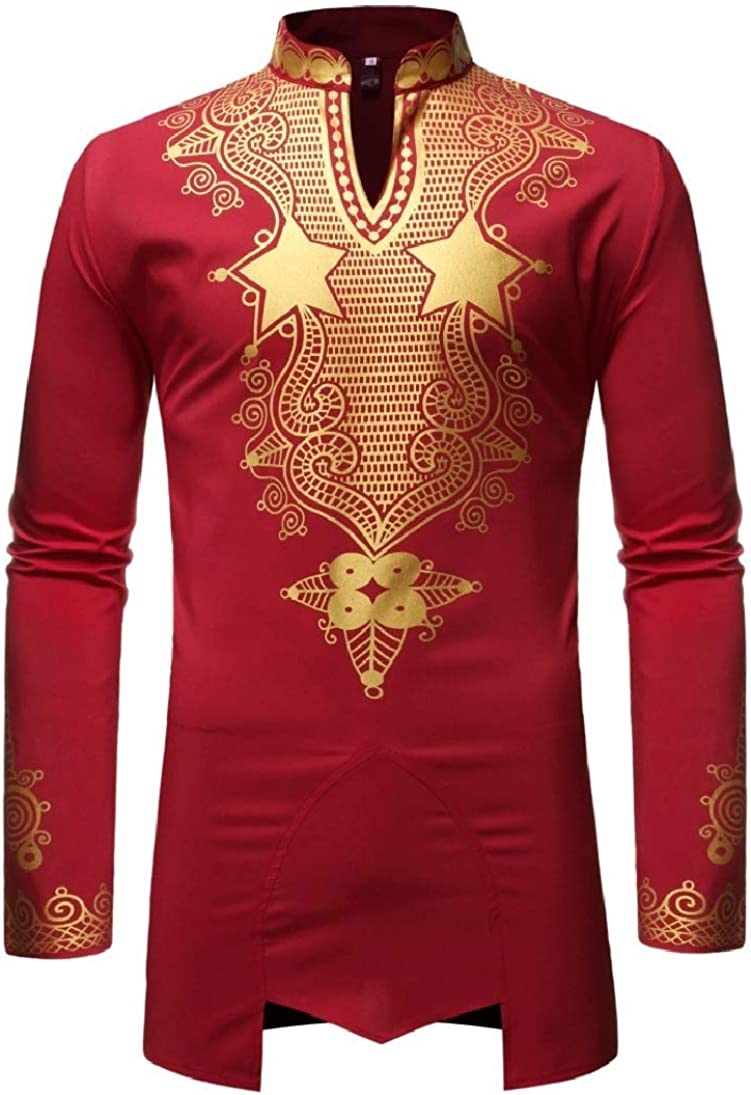 Zimaes-Men African T-Shirts Stand up Collar Trim-Fit Gilded Long Sleeve Western Shirt