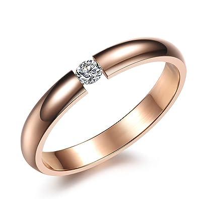 Unendlich U - Anillo de acero inoxidable de color oro rosa para mujer, anillo de compromiso, talla 49 a 57, con bolsa de regalo: Amazon.es: Joyería