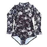 Beachkini Women Zip Up Swimsuit Rash Guard Floral Long Sleeve Swimwear