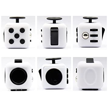 Fidget Cube Anxiety Stress Relief Focus 6-side Finger Toy White Black