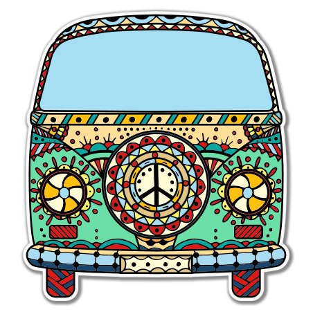 Volkwagen Peace Van Vinyl Sticker - Car Phone Helmet - SELECT SIZE thumbnail