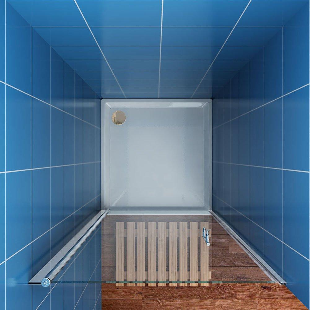SUNNY SHOWER 27 1/4 in. W x 72 in. H Pivot Swing Shower Door, Clear ...