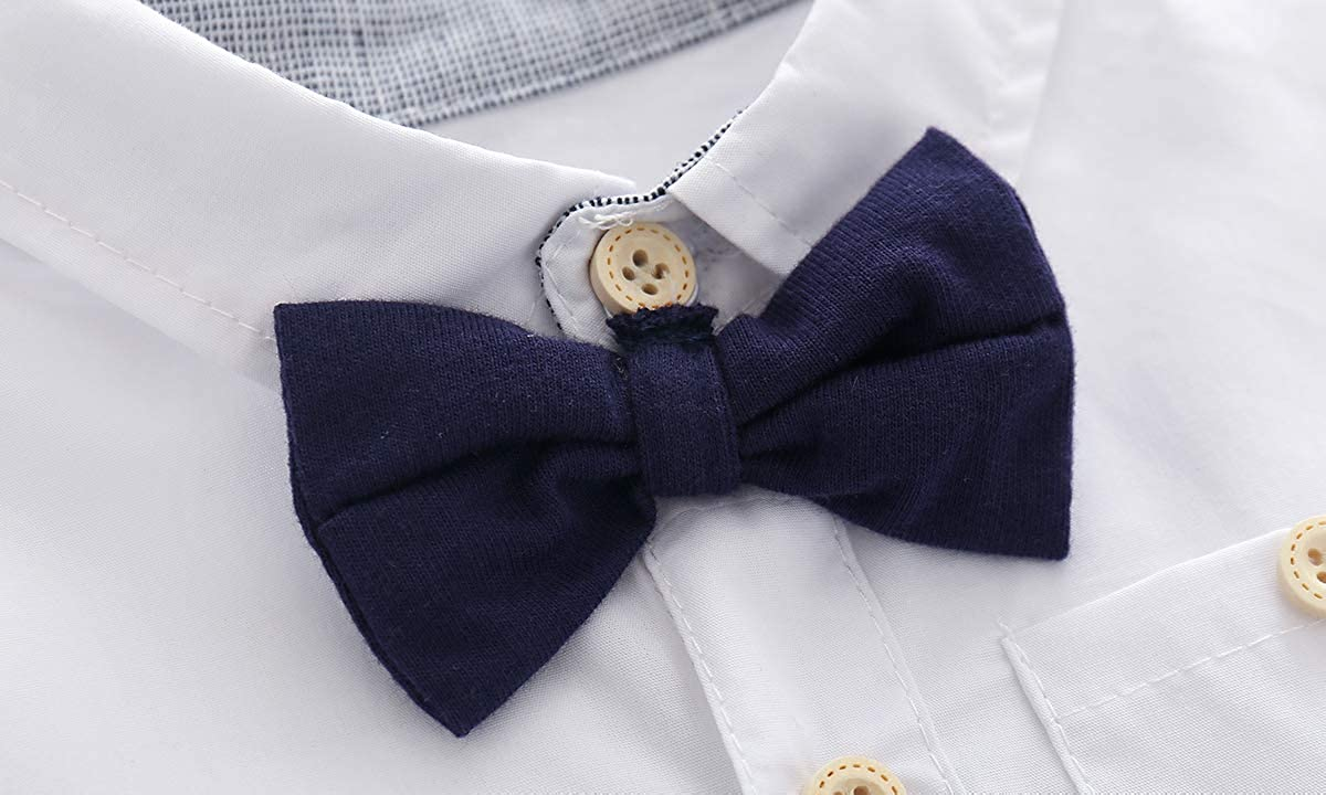 Newborn Baby Boys Gentleman Outfits Suits, Infant Short Sleeve Shirt+Bib Pants+Bow Tie Overalls Clothes Set: Clothing