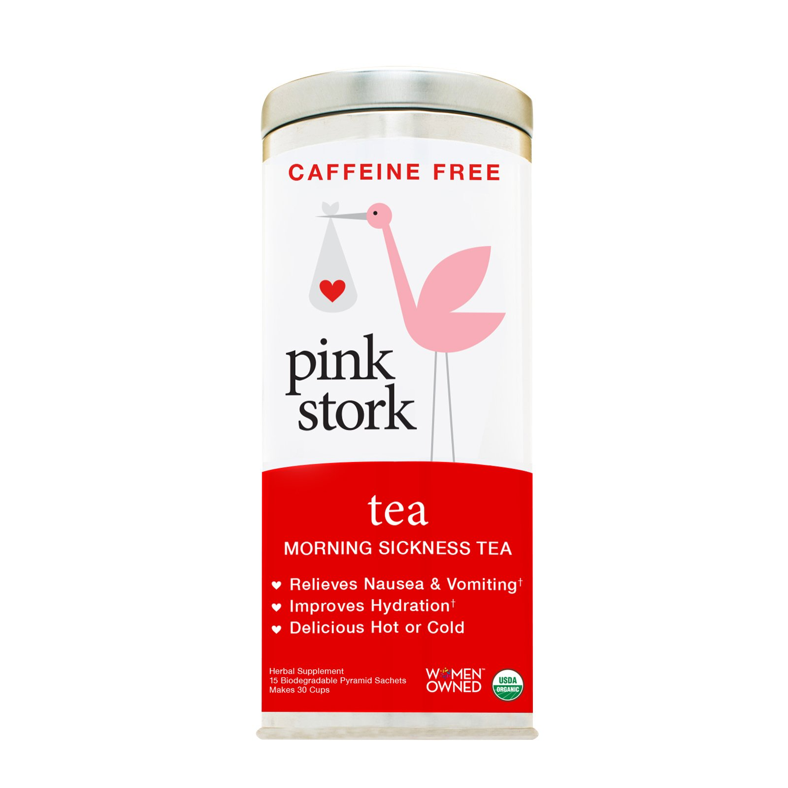 Pink Stork Tea: Morning Sickness Relief Pregnancy Tea -Organic Ginger Peach -Relief from Morning Sickness, Nausea, Cramps, Constipation, and More -Delicious Hot or Cold -30 Cups, Caffeine Free