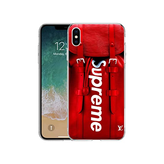 new concept 6a54a 28811 LV Supereme Backpack Design Silicone Protective Cover Case for iPhone 6 6S  7 8 Plus X (iPhone Xs Max)
