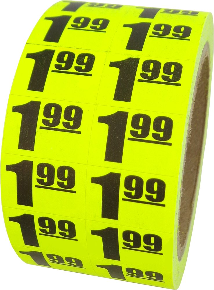 1000 Labels #MSLW3401 Retail Price Stickers Square Deal Recordings /& Supplies $1.99 In-Store Use Day-Glo Yellow Display Labels 3//4 x 1//2-1 Roll