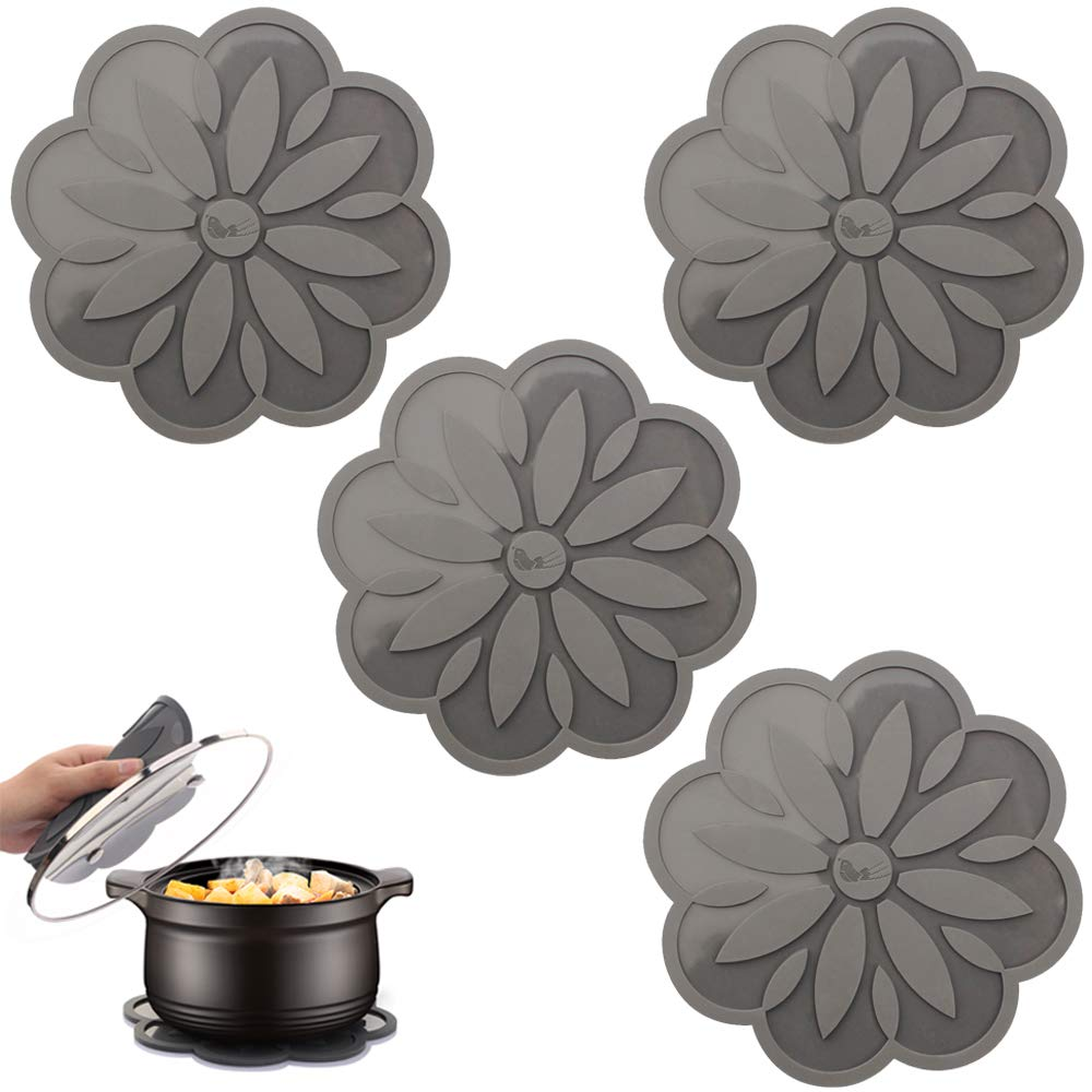 ME.FAN Silicone Trivet Mat Black Diameter:6.7/'/' Hot Pads For Pots /& Pans Centaury Pot Holders 4 Set Spoon Rest /& Coasters Heat Resistant Non Slip Flexible /& Durable Jar Opener